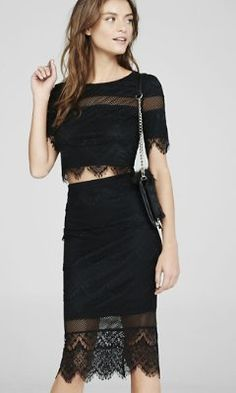 knit lace fringe midi pencil skirt from EXPRESS - JUST the skirt :)