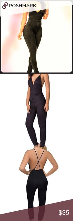 Sexy Black Suede Jumpsuit Size Medium Sexy black suede spaghetti strap jumpsuit that's criss cross backless. new with no tags. Size Medium. Made with polyester, spandex, and cotton. Body hugging tight. Great for the night life, cocktails and parties. Pants Jumpsuits & Rompers