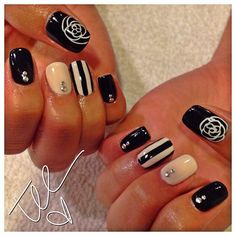 3D Black & White and Nude Accent Nails w/ 2 Rhinestones in a Row @ the cuticle line.... I love these Neutrals....