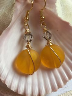 Sea glass gold earrings~wire wrapped Beach glass Crystal earring-cultured sea glass gorgeous color ~recycled glass jewelry~ topaz boho beads