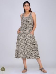 Black-Ivory Block-Printed Cotton Dress with Belt by Jaypore