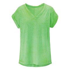 T-Shirt, Ausbrenner, V-Ausschnitt, Neon, gerade geschnitten, Casual Vorderansicht