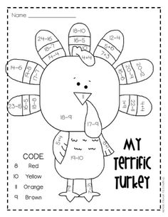This is brilliant! A numeracy-based activity that kids will love. And simple to shuffle the sums about so there's no copying over shoulders!    http://loryevanspage.blogspot.co.uk/2011/11/my-terrific-turkey.html    Lory's Page: My Terrific Turkey