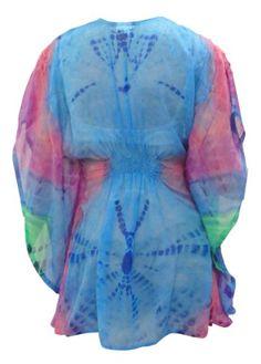 $41 La Leela Blue Pink Tie Dye Printed Beadh Tube Cover upFrom La Leela $41