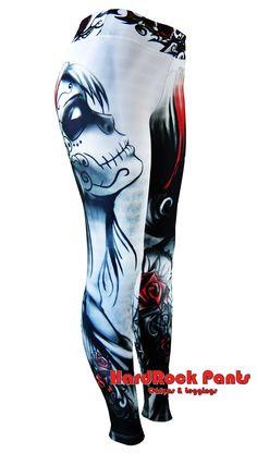 Legging Catrina - Branca #calça #legging #leggings #catrina #caveira #mexicana #skull #dark #moda #fashion #sublimação #arte #3D #exclusiva #fitness #academia #malhação #hardrockpants