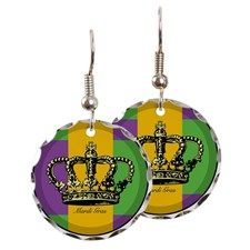 MardiGrasFlagLRtr Earring Circle Charm for