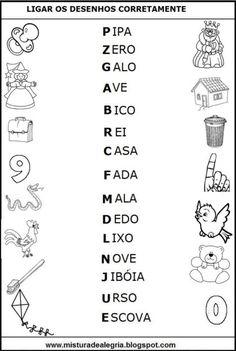 atividades de alfabetização de leitura Ligue os desenhos