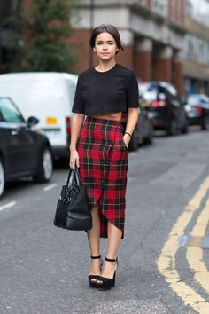 Love this asymmetrical plaid pencil skirt with a cropped black top! Women's fashion for spring outfit clothing