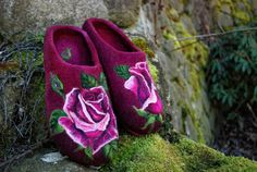Felted Slippers Passion Roses EU size 40 by IrinaU on Etsy, $176.00