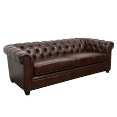 Joss & Main Riley 86-Inch Leather Chesterfield Sofa