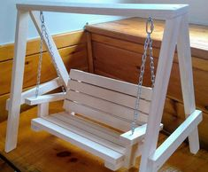 Handmade Bench Swing for 18 inch Doll Diy Barbie Furniture, Kids Furniture, Miniature Furniture, Dollhouse Furniture, Diy Popsicle Stick Crafts, Bench Swing, Wood Toys Plans, Doll House Crafts, Diy Holz