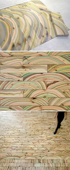 Pernille Snedker Hansen uses a repurposed marbling technique on wooden planks