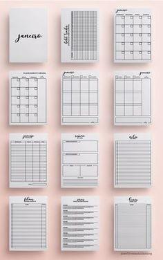 Download do planer 2018 versão minimalista, clean e P&B. Planejamento mensal aberto, planejamento semanal, controle de gastos (finanças), resumo mensal, metas mensais, lista de filmes, livros e séries.