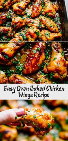 Easy Oven Baked Chicken Wings Recipe - Chicken Recipes - #ovenbakedchickenthighs - Easy Oven Baked Chicken Wings Recipe - Chicken Recipes... Easy Baked Chicken Wings, Crispy Baked Chicken Thighs, Juicy Baked Chicken, Baked Greek Chicken, Oven Roasted Chicken, Baked Chicken Recipes, Recipe Chicken, Oven Barbecue Chicken, Chicken Recipes Oven