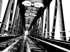 The old train bridge. Railroad Tracks, Bridge, Old Things, Train, Black And White, Black White, Blanco Y Negro, Strollers, Bro