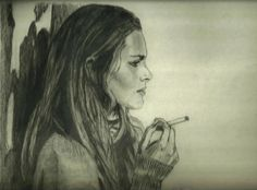 Drawing of girl on the street by friend of friend