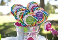 Pink Polka Dot Party Lollipops | Paper & Cake | Photo by @Missy Marie Photography