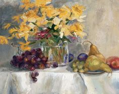 Daffodils and grapes, pears See more at:  http://www.DianeStoneArt.com #art #paintings