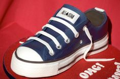 Converse cake by The Royal Bakery Converse Cake, Custom Converse, Converse Shoes, Fondant Cakes, Cupcake Cakes, Cake Templates, Sport Cakes, Sculpted Cakes, Gateaux Cake