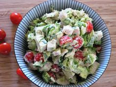 AVOCADO CHICKEN SALAD  The changes to the recipe I made were: I mashed the avocados (instead of diced), replaced the sour cream w non fat greek yogurt, added diced jicama and vidalia & green onion and left out the tomato