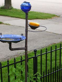 Bird bath fun! I have some old copper pipes I could do this with!