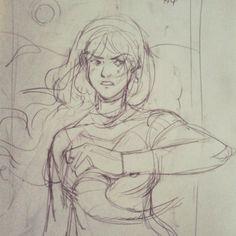 Je pousse le croquis d'hier pour éventuellement encrer. #sketch #drawing #girl #dune #frankherbert by cpwet