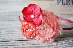 Coral Shades rosette flower and chiffon by babybirdieboutique, $12.50