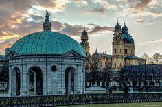 GERMANY, München, Kirche Skt Kajetan, (Theatiner Kirche) und Hofgarten Pavillon im Licht eines Winterspätnachmittages by Polybert49, via Flickr