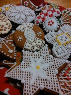 Honey cookies decorated by white and colour sugar glaze.