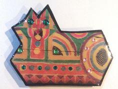 1988 plastic cat artist signed Laurel Burch era Bolo Tie Statement Magpie Art #signedMAGPIE