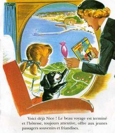Caroline en Avion. éditions Hachette. Pierre Probst. Air France, Garth Williams, Cute Paintings, Children's Book Illustration, Used Books, Ciel, Vintage Children, Childrens Books, Illustrators