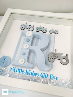 Baby Boy birth / child initial box frame New Baby Christening Naming Ceremony pe. - Baby Boy birth / child initial box frame New Baby Christening Naming Ceremony personalised handmade - Framed Letters, Scrabble Frame, Shadow Box, Baby Boys, Coloring For Boys, Family Tree Frame, Wish Gifts, White Box Frame, Baby Frame