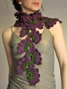 Wild Orchids - crocheted lace scarf in dark green and purple shades