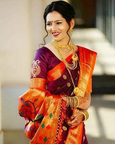 Image may contain: 2 people, people standing Indian Bridal Photos, Indian Bridal Sarees, Wedding Silk Saree, Indian Beauty Saree, Maharashtrian Saree, Marathi Saree, Fancy Sarees Party Wear, Saree Blouse Neck Designs, Blouse Patterns