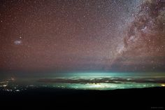 From high altitude slopes of Mount Kilimanjaro, the highest mountain in Africa, a starry night is photographed over the lights of Moshi, a town situated on the lower southern slopes of Kilimanjaro.