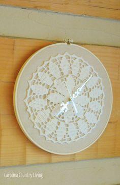 Doily Clock DIY by carolinacountryliving