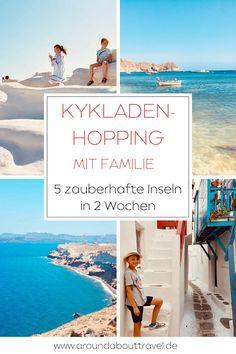 Kykladen-Hopping zum Nachreisen und zu den zauberhaftesten Inseln Mykonos, Santorin, Milos und Paros.