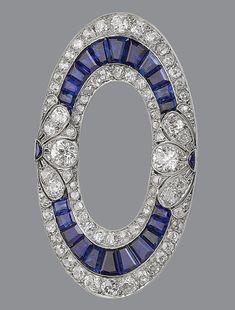 Art Deco Sapphire Diamond Brooch, 1915