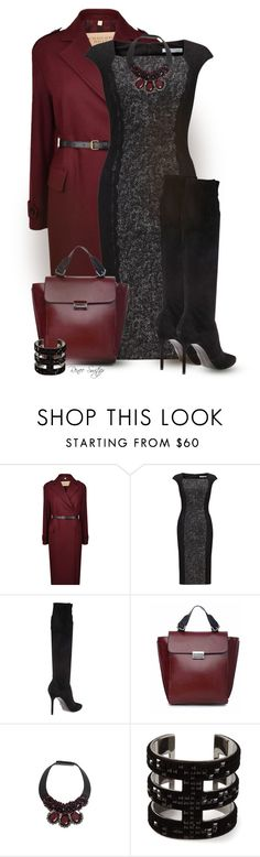"""""""Tweed Dress with Tall Boots"""" by renee-switzer ❤ liked on Polyvore featuring Burberry, Gina Bacconi, Stuart Weitzman, Marni and Atelier Swarovski"""
