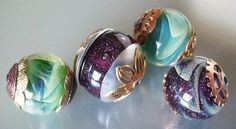 Silvered glass beads made & capped. By Jayne LeRette, BadgerBeads