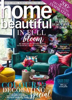 Stunning homes, brilliant ideas and colour palettes to die for are on every page in Home Beautiful April issue is now on sale - it's a breathtaking feast of colour and sumptuous colour and sheer decorating delight to draw inspiration from for your home Country Prom, Greenhouse Interiors, Kitchen Fabric, Beautiful Cover, Australian Homes, Boutique Design, Colorful Drawings, Jewel Tones, Engagement Pictures