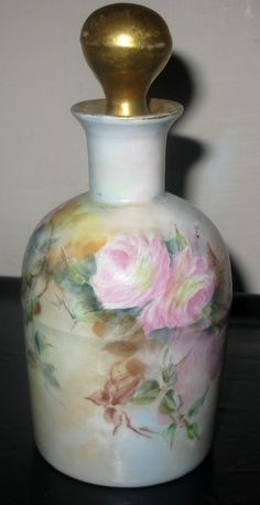 Limoges William Guerin Co Hand Painted Perfume Bottle and Stopper C1900   eBay