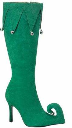 Adult Green Elf Halloween Costume Boots (Size:10)