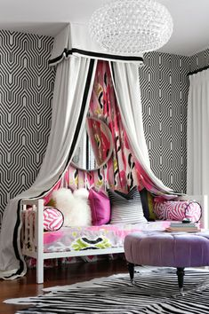Retro Black and White wallpaper mixed with Ikat and zebra.. Fun!