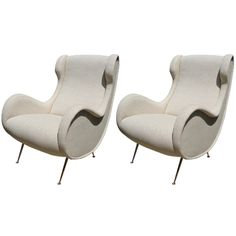 Sculptural Pair of French Winged Armchairs at Gustavo Olivieri