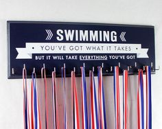 Swimming: Use a Medals Rack to display your swimming ribbons