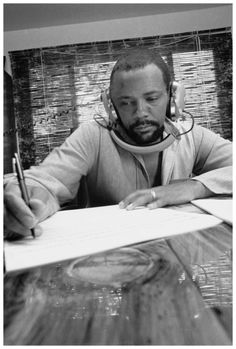 Quincy Jones at his home studio in October 1974 by George Brich