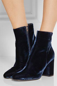 Heel measures approximately 85mm/ 3.5 inches Navy velvet Zip fastening along side Designer color: Denim Made in Italy