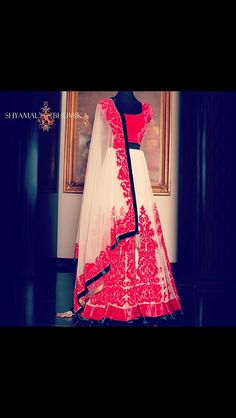 White and red designer anarkali by Shyamal and Bhumika. #RedLengha #DesignerLengha