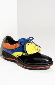 Prada Kilted Plain Toe Oxford Black Orange Blue Yellow | Mens Oxfords Shoes & Footwear